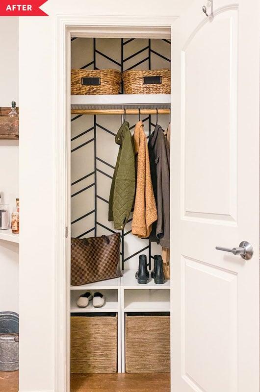 small coat closet with washi tape design