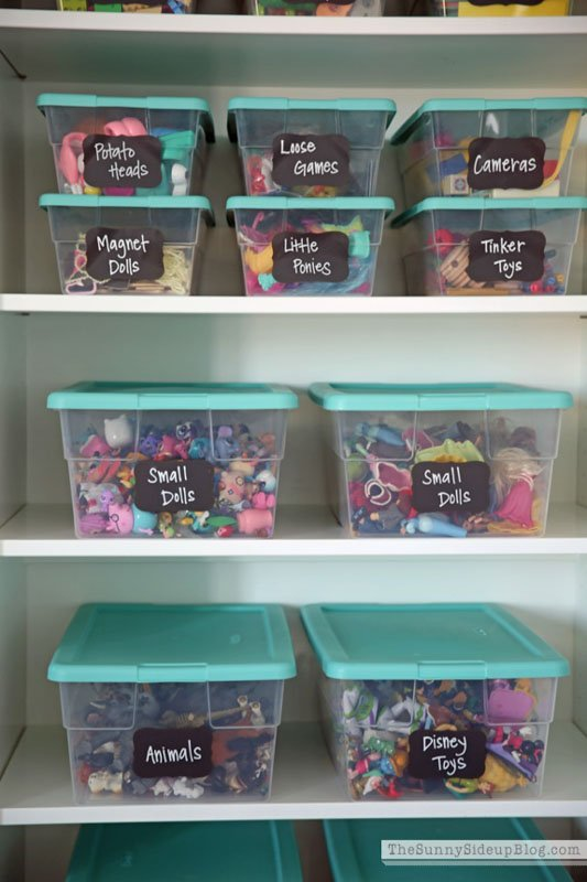 Clear shoe sized bins labeled and stacked on book shelves for small toy storage.