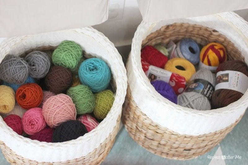 wicker baskets filled with yarn