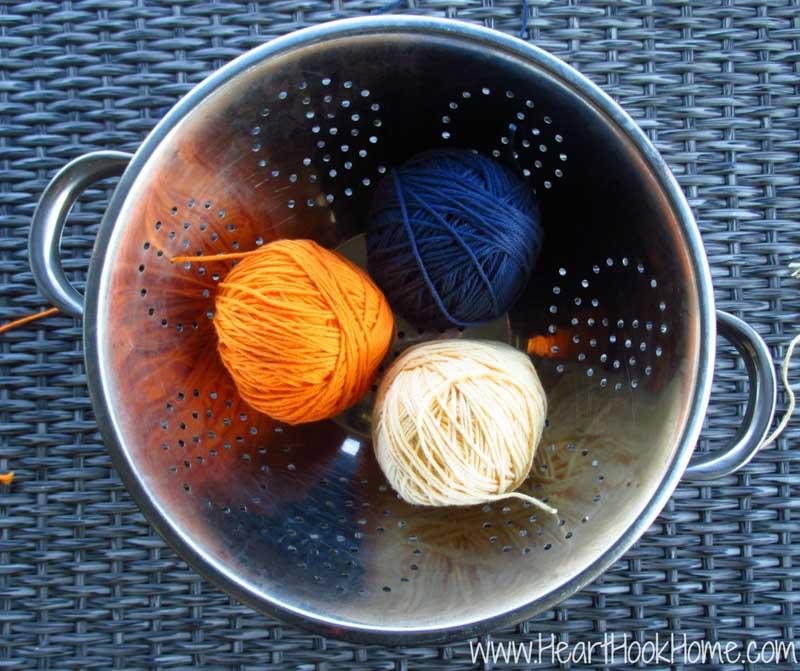 colander filled with yarn storage