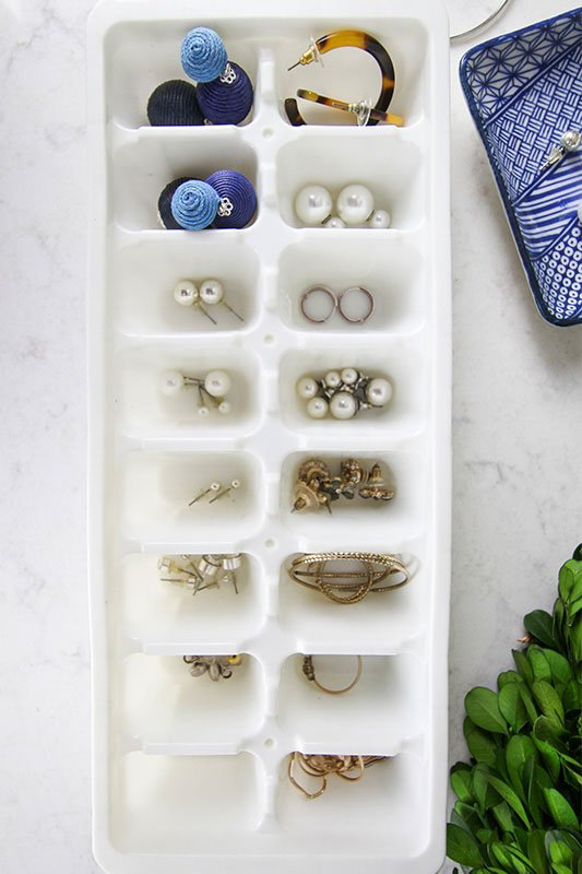jewelry in an ice cube tray