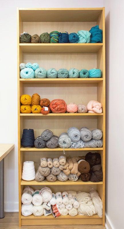bookshelf used for yarn storage