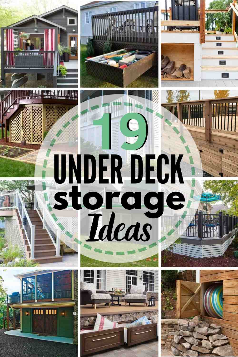 19 Under Deck Storage Ideas - grid with 12 images of different ideas
