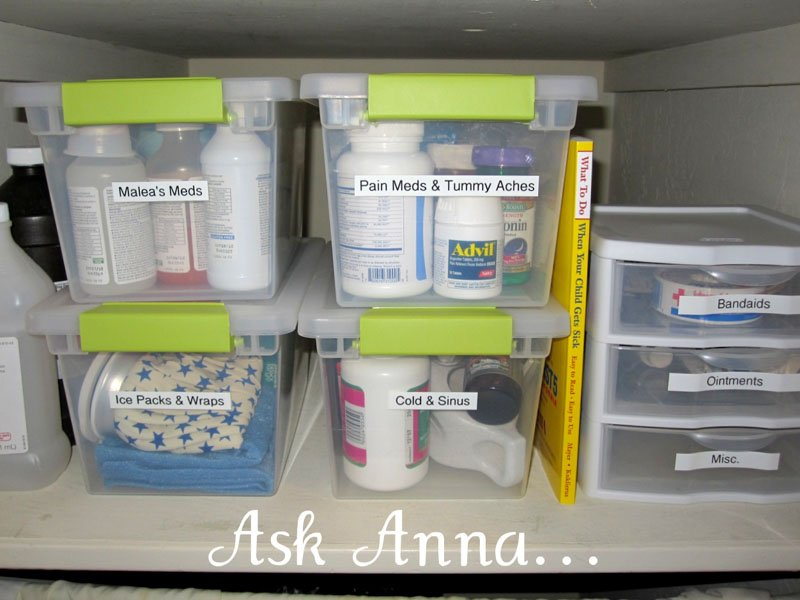medicine cabinet supplies in labeled containers