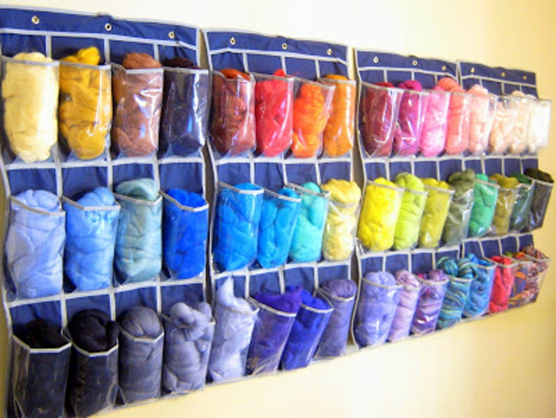 shoe storage pouches with yarn stored in them