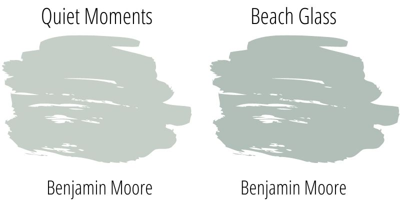 swatch comparison: Benjamin Moore Quiet Moments versus Beach Glass