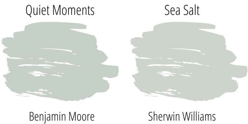 swatch comparison: Benjamin Moore Quiet Moments versus Sherwin Williams Sea Salt