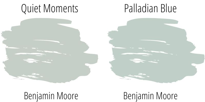swatch comparison: Benjamin Moore Quiet Moments versus Palladian Blue