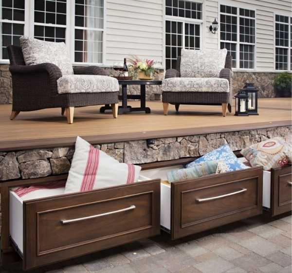 Swanky Kitchen Style Under Deck Storage Drawers via Trex - seen holding outdoor pillows