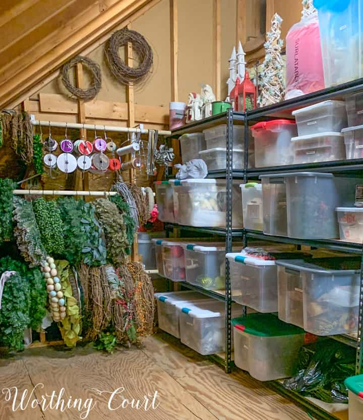 organized holiday wreaths and garlands in the attic - worthing court