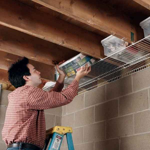 rafter storage shelving idea