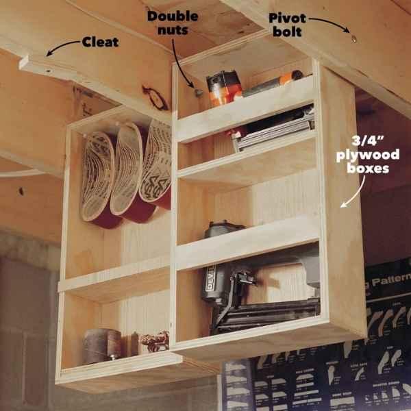 family handyman hinged rafter storage idea