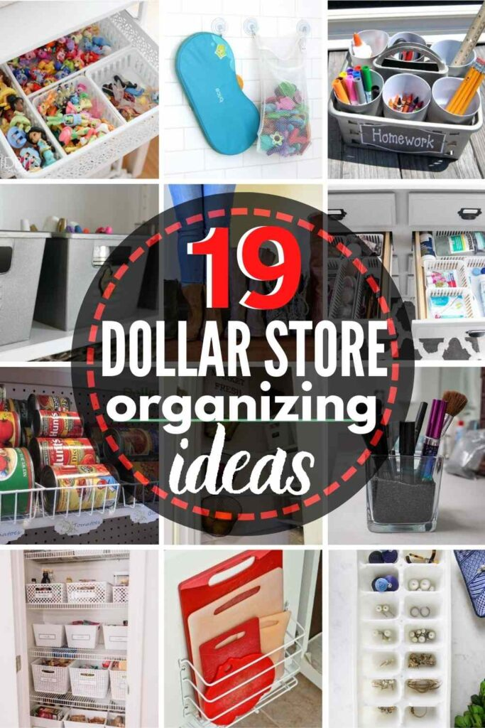 grid with 12 images; text overlay reads 19 dollar store organizing ideas
