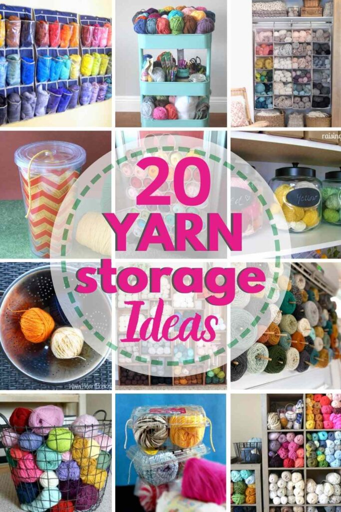 collage of 12 yarn storage ideas