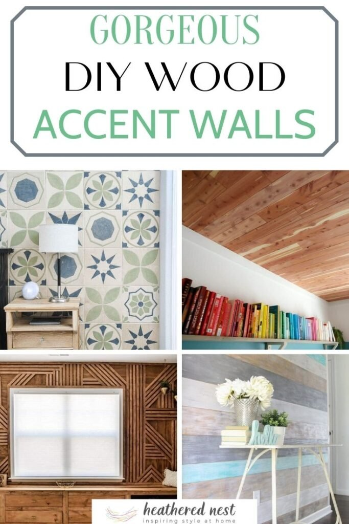diy wood accent walls pin image with text overlay