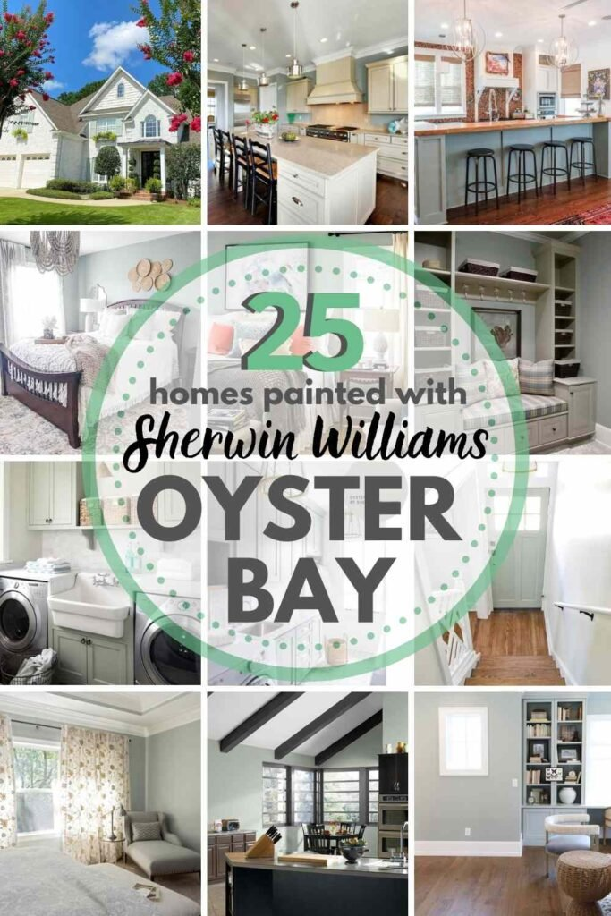 """grid with 12 images of spaces painted with Sherwin Williams Oyster Bay - text """"25 homes painted with Sherwin Williams Oyster Bay"""""""