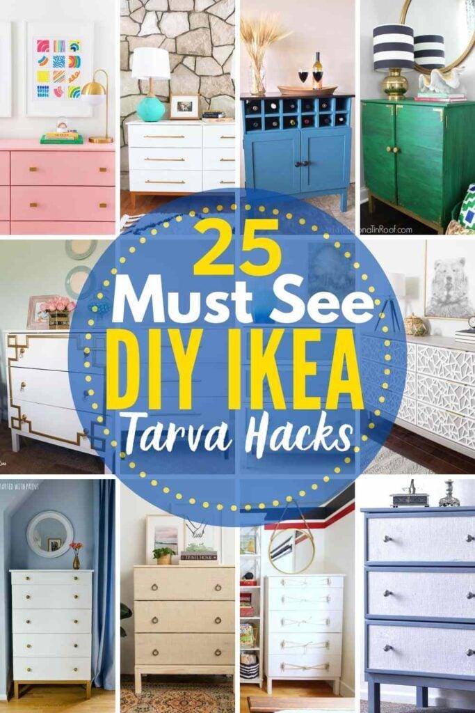 grid with 12 images of different IKEA Tarva hack ideas - text overlay 25 Must See IKEA Tarva Hacks