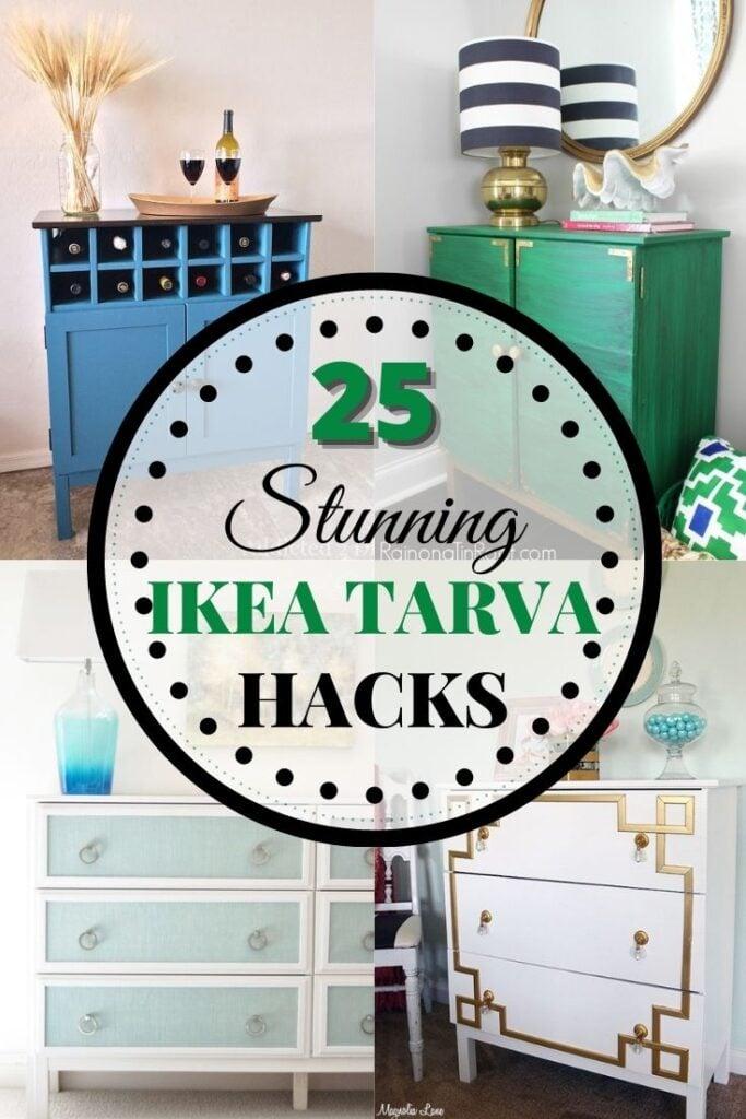 25 Stunning IKEA Tarva hacks written on top of 4 examples of DIY Tarva hacks