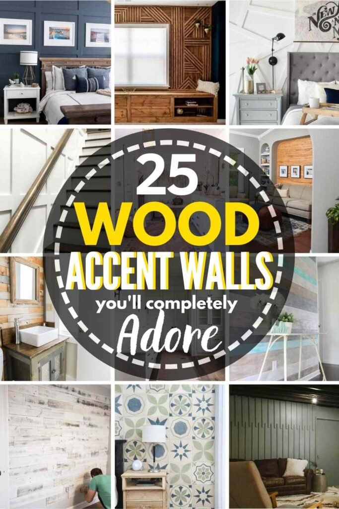 grid of 12 wood accent walls. text: 24 wood accent walls you'll completely adore