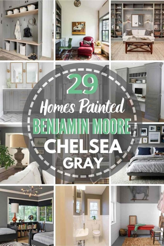 """grid with 12 rooms each painted Chelsea Gray, text overlay """"29 Homes Painted Benjamin Moore Chelsea Gray"""""""