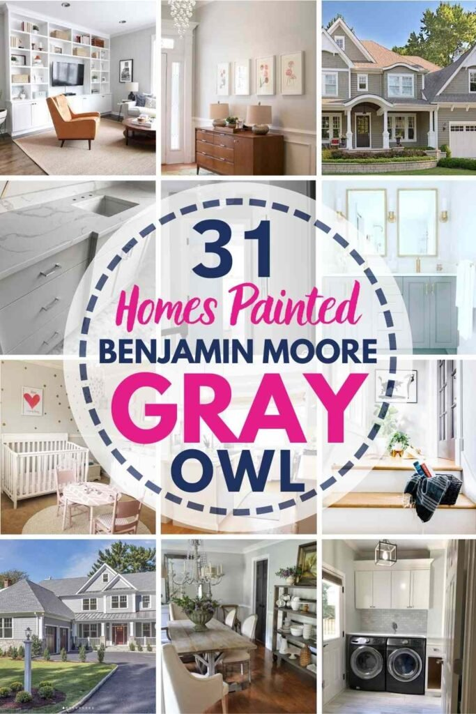 """grid with 15 rooms each painted Gray Owl, text overlay """"31 homes painted Benjamin Moore Gray Owl"""""""