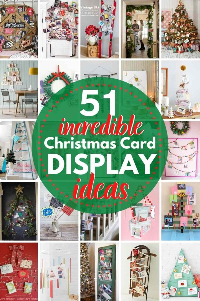 grid with 20 christmas card displays - text: 51 incredible christmas card display ideas