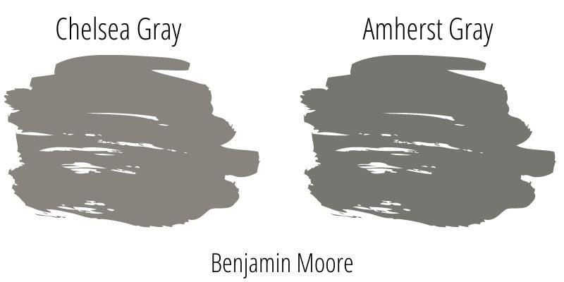 Benjamin Moore Chelsea Gray versus Amherst Gray paint swatch comparison