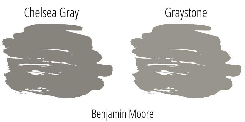 Benjamin Moore Chelsea Gray versus Graystone paint swatch comparison