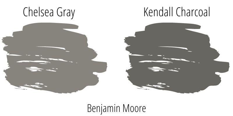 Benjamin Moore Chelsea Gray versus Kendall Charcoal paint swatch comparison