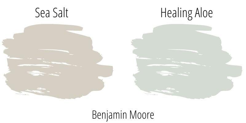 Paint color swatch comparison: Benjamin Moore Sea Salt versus Healing Aloe