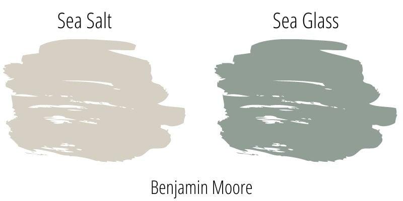 Paint color swatch comparison: Benjamin Moore Sea Salt versus Sea Glass