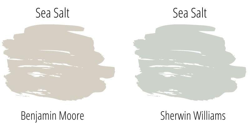 Paint color swatch comparison: Benjamin Moore Sea Salt versus Sherwin Williams Sea Salt