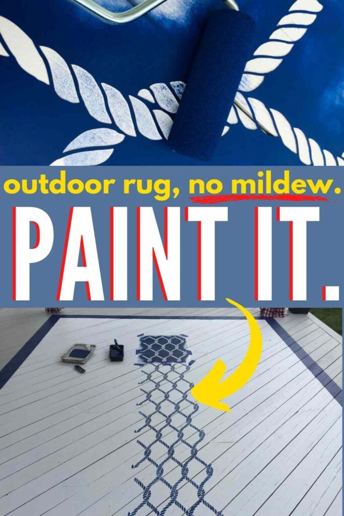 painting a deck with nautical stencil. text overlay: outdoor rug, no mildew. paint it.
