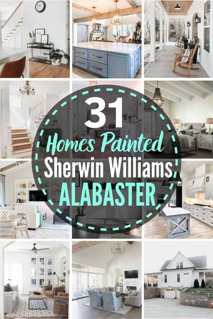 """Grid layout with 12 rooms each painted with Sherwin Williams Alabaster, text """"31 homes painted sherwin williams alabaster"""""""