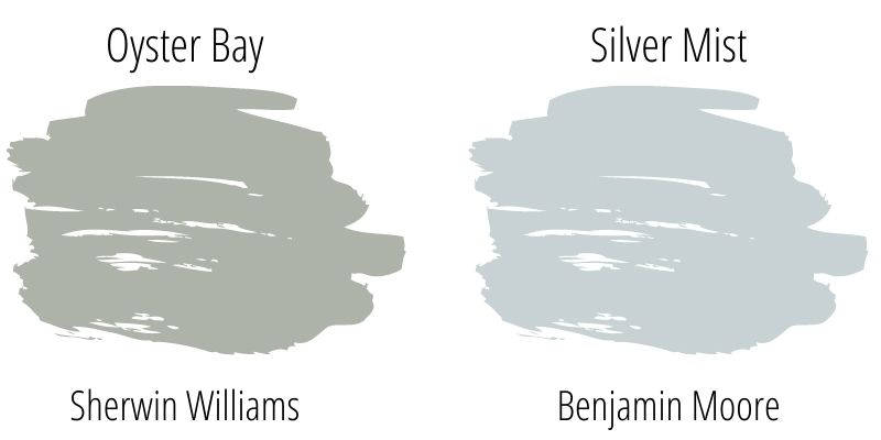 paint color swatch comparison: Sherwin Williams Oyster Bay versus Benjamin Moore Silver Mist