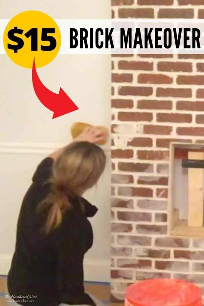 """Woman completing a german smear on her brick fireplace with text """"$15 brick makeover"""""""