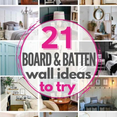 """grid with 12 examples of board and batten walls: """"21 board and batten wall ideas to try"""""""