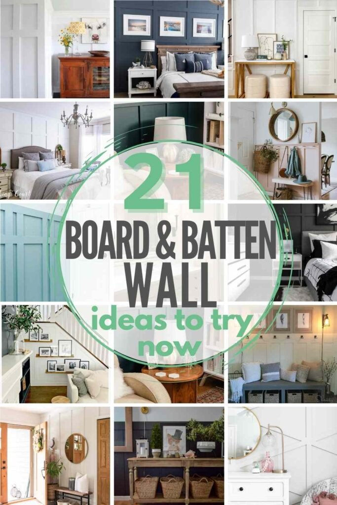 """grid with 12 examples of board and batten walls: """"21 board and batten wall ideas to try now"""""""