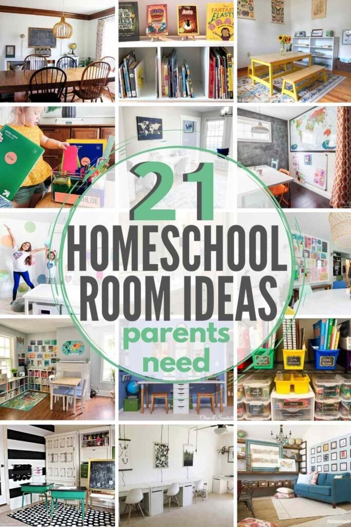 """""""21 homeschool room ideas parents need"""" with grid of 15 homeschool room ideas shown"""