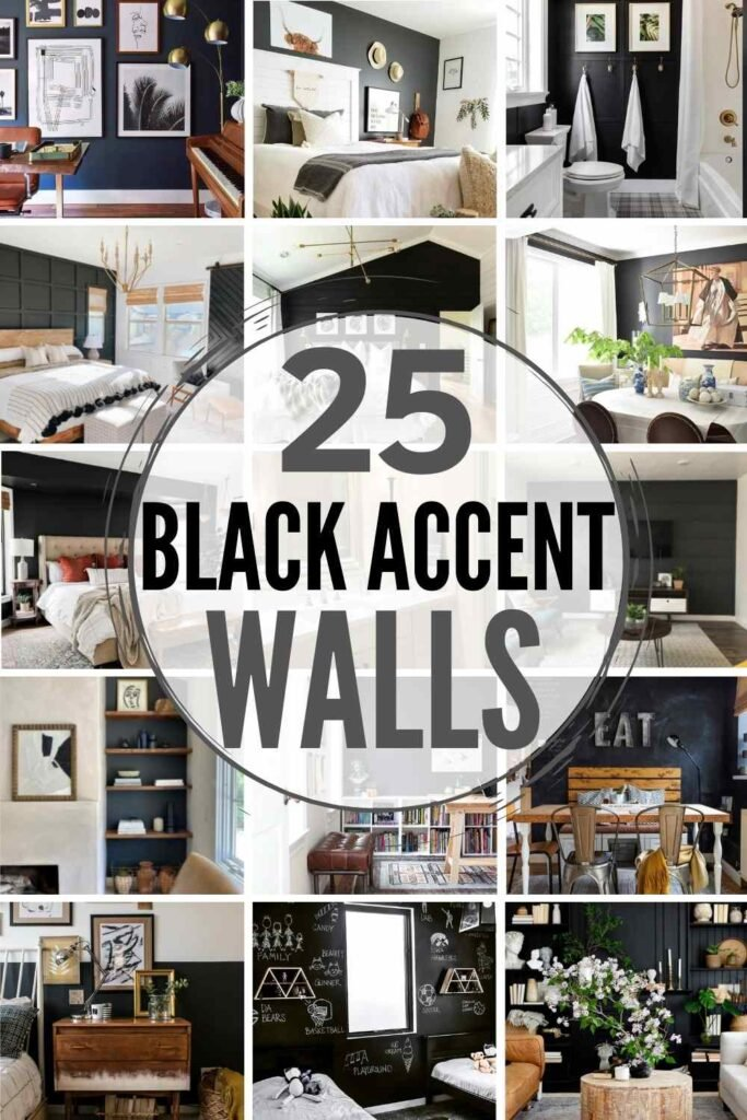 """grid with 15 black accent wall examples: """"25 black accent walls"""""""