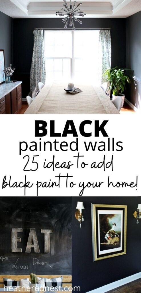 black painted walls - 25 ideas to add black paint to your home! Showing three examples