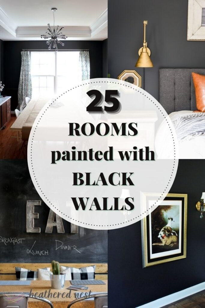 25 rooms painted with black walls showing 4 examples