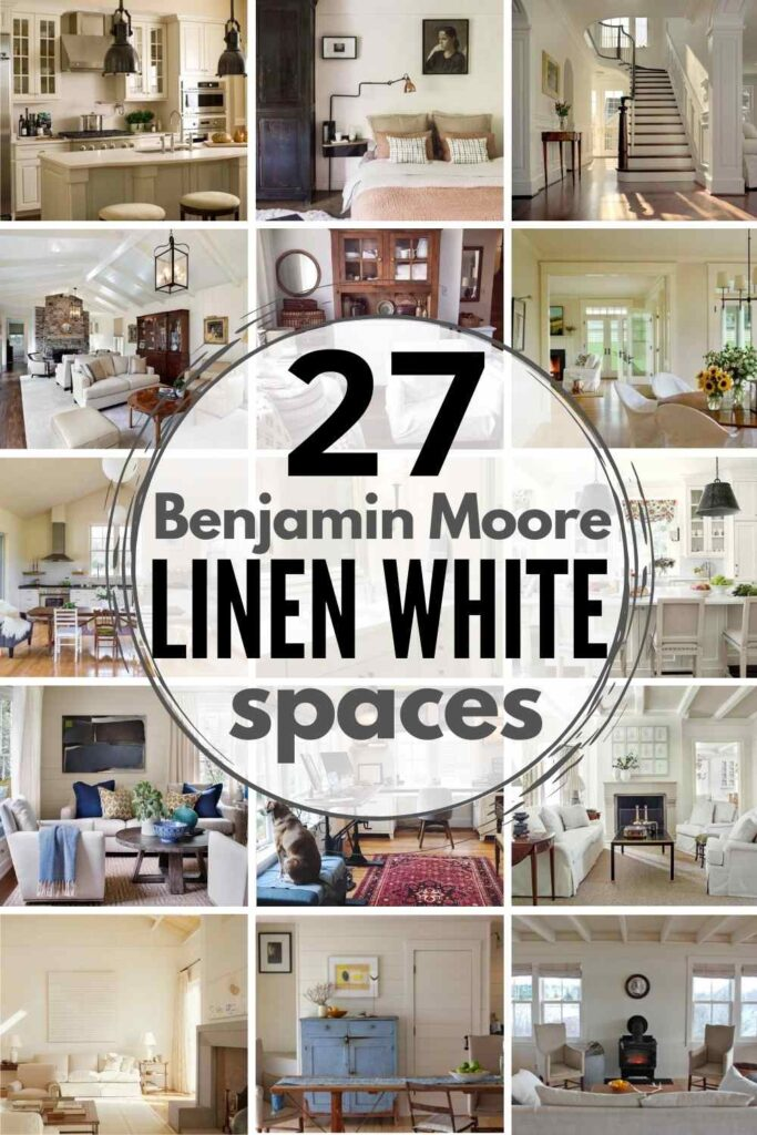 """grid with 15 examples of Benjamin Moore """"Linen White"""""""