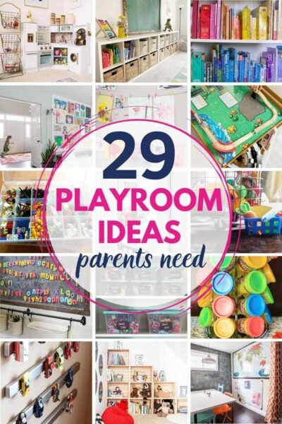 grid with 12 playroom ides. text: 29 playroom ideas parents need