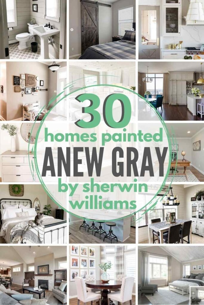 """grid with 15 examples of Sherwin Williams Anew Gray in real homes. text"""" 30 homes painted Sherwin Williams Anew Gray"""""""