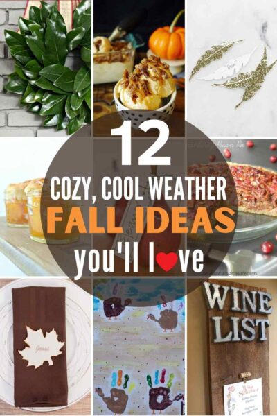 """grid with 9 fall projects: """"12 cozy, cool weather fall ideas you'll love"""""""