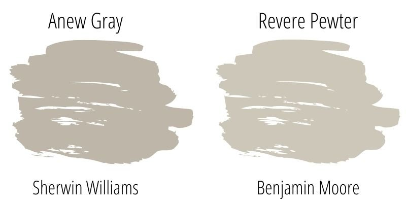Paint Swatch Comparison of Sherwin Williams Anew Gray and Benjamin Moore Revere Pewter