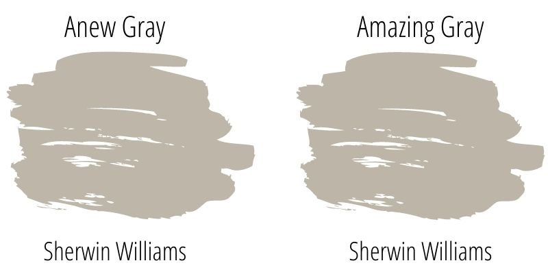 Paint Swatch Comparison of Sherwin Williams Anew Gray and Sherwin Williams Amazing Gray