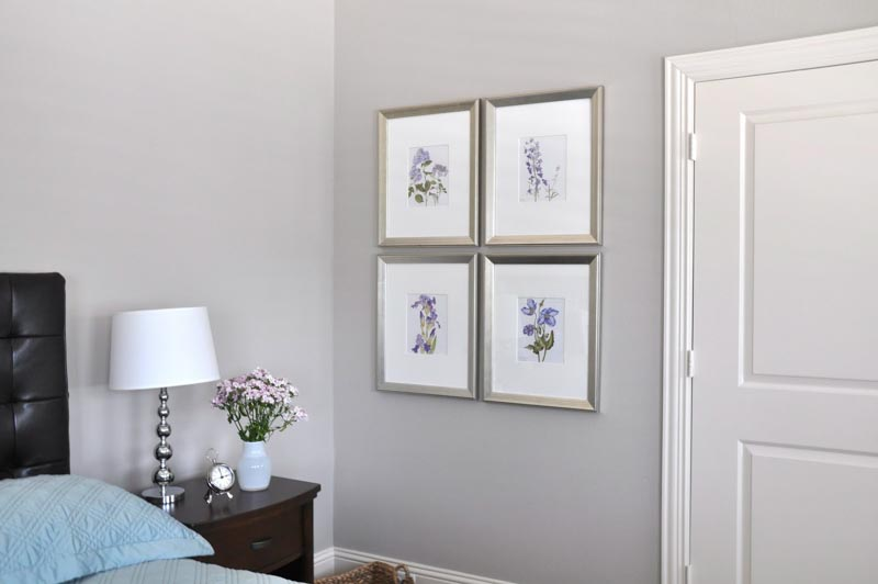 Anew Gray paint featured on bedroom walls.