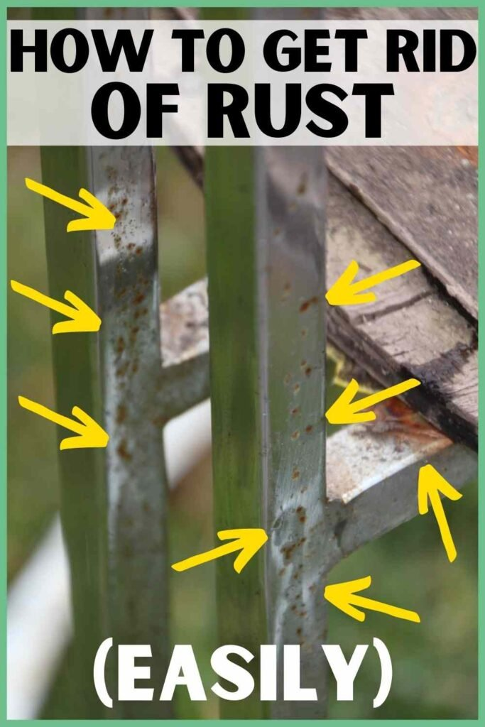 """""""how to get rid of rust easily"""" showing a rusted chair with arrows pointing to many rust spots"""